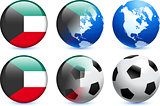 Kuwait Flag Button with Global Soccer Event