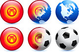 Kyrgyzstan Flag Button with Global Soccer Event
