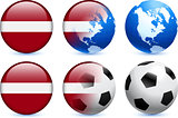 Latvia Flag Button with Global Soccer Event
