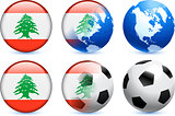 Lebanon Flag Button with Global Soccer Event
