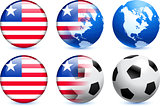 Liberia Flag Button with Global Soccer Event
