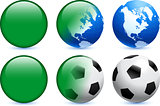 Libya Flag Button with Global Soccer Event