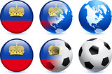 Liechtenstein Flag Button with Global Soccer Event