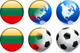 Lithuania Flag Button with Global Soccer Event