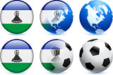 Lesotho Flag Button with Global Soccer Event