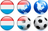 Luxembourg Flag Button with Global Soccer Event