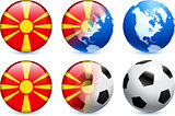 Macedonia Flag Button with Global Soccer Event