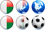 Madagascar Flag Button with Global Soccer Event
