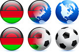 Malawi Flag Button with Global Soccer Event