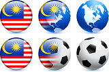 Malaysia Flag Button with Global Soccer Event