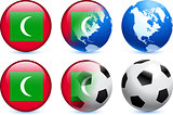 Maldives Flag Button with Global Soccer Event