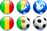 Mali Flag Button with Global Soccer Event