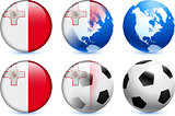 Malta Flag Button with Global Soccer Event
