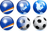 Marshall Islands Flag Button with Global Soccer Event