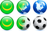 Mauritania Flag Button with Global Soccer Event