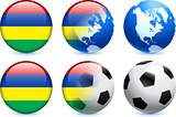 Mauritius Flag Button with Global Soccer Event