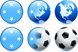Micronesia Flag Button with Global Soccer Event