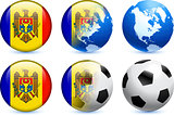Moldova Flag Button with Global Soccer Event