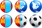 Mongolia Flag Button with Global Soccer Event