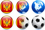 Montenegro Flag Button with Global Soccer Event