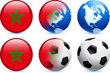 Morocco Flag Button with Global Soccer Event
