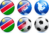 Namibia Flag Button with Global Soccer Event
