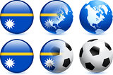Nauru Flag Button with Global Soccer Event