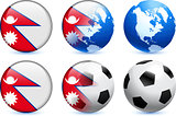 Nepal Flag Button with Global Soccer Event