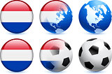 Netherlands Flag Button with Global Soccer Event