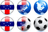 Netherlands Antilles Flag Button with Global Soccer Event