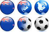 New Zealand Flag Button with Global Soccer Event
