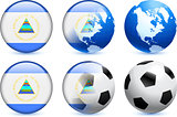 Nicaragua Flag Button with Global Soccer Event