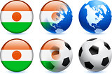 Niger Flag Button with Global Soccer Event