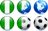 Nigeria Flag Button with Global Soccer Event