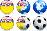 Niue Flag Button with Global Soccer Event
