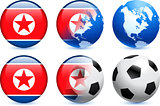North korea Flag Button with Global Soccer Event