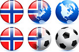 Norway Flag Button with Global Soccer Event