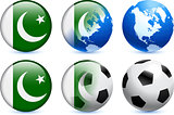 Pakistan Flag Button with Global Soccer Event