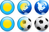 Palau Flag Button with Global Soccer Event