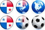Panama Flag Button with Global Soccer Event