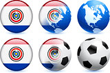 Paraguay Flag Button with Global Soccer Event