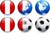 Peru Flag Button with Global Soccer Event