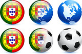 Portugal Flag Button with Global Soccer Event
