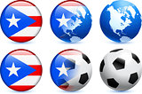 Puerto Rico Flag Button with Global Soccer Event