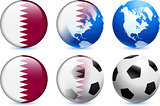 Qatar Flag Button with Global Soccer Event