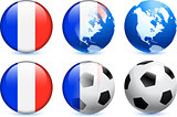 Reunion Flag Button with Global Soccer Event