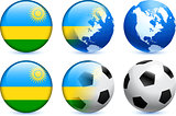 Rwanda Flag Button with Global Soccer Event