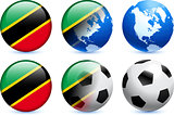 Saint Kitts and Nevis Flag Button with Global Soccer Event