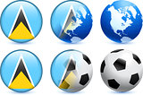 Saint Lucia Flag Button with Global Soccer Event