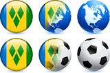 Saint Vincent Flag Button with Global Soccer Event